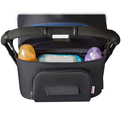 Stroller Organizer, Sunzel Moisture-Proof Baby Stroller Bag with High-Capacity for Bottle, Diapers, Clothing, Toys, Cellphone etc. Black