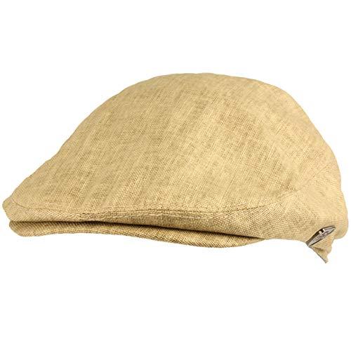 (Men's Summer 100% Linen Front Snap Flat Golf Ivy Driving Cap Hat S/M Khaki)