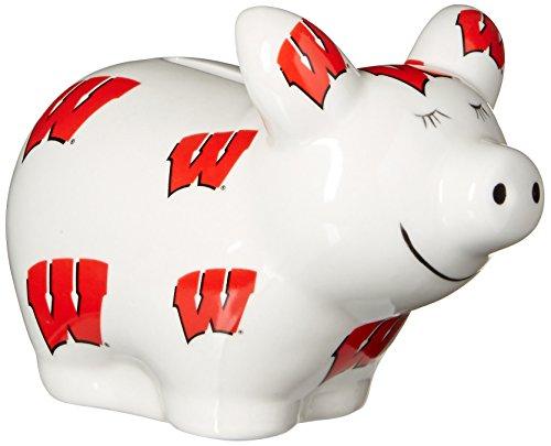 Game Day Outfitters NCAA Wisconsin Badgers Logo All Over Piggy Bank, One Size, Multicolor ()