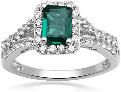 Jewelili Created Emerald and Created White Sapphire Sterling Silver Fashion Ring