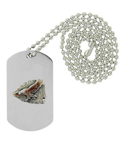 Arrowhead Eagle (Military Emblem Dog Tag w/ Metal Chain Necklace - Animal - Eagle, Hawk & Falcon - Flying Eagle Arrow Head)