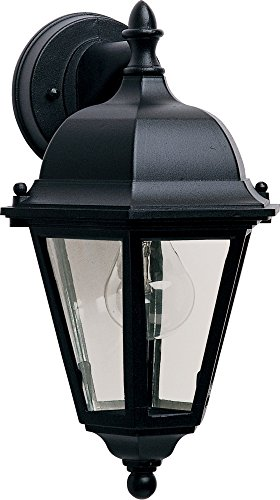 Maxim 1000BK Westlake Cast 1-Light Outdoor Wall Lantern, Black Finish, Clear Glass, MB Incandescent Incandescent Bulb , 100W Max., Dry Safety Rating, Standard Dimmable, Glass Shade Material, 5750 Rated Lumens (Lighting Mounts Mediterranean Wall)
