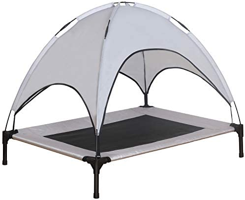 Niubya Elevated Dog Bed with Canopy, 1680D Oxford Fabric Mesh Portable Raised Pet Cot, Silver Gray