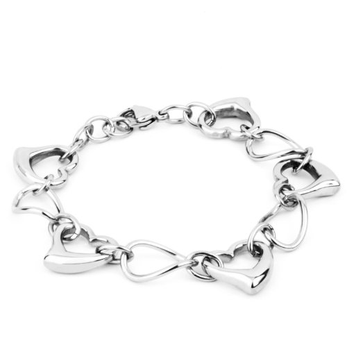 ELYA Stainless Steel Bracelet with Oval Polished Links and Hearts ()