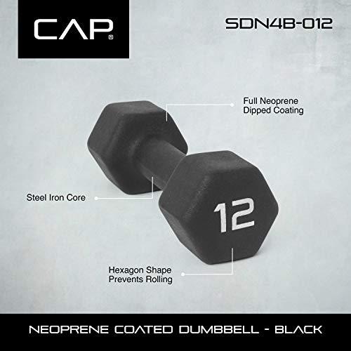 CAP Barbell SDN4BP-12 Neoprene Coated Dumbbell (Pair), Black, 12 lb. by CAP Barbell (Image #2)