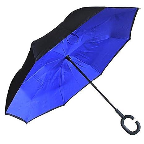 Amazon.com : Crochi Inverted Umbrella Rain Women Men paraguas Double Layer Reverse Umbrella Male guarda chuva invertido car walking stick Umbrellas Black ...