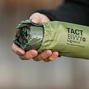 Tact Bivvy 2.0 Compact Ultra Lightweight Sleeping Bag - 100% Waterproof Ultralight Thermal Bivy Sack Cover, Emergency Space Blanket Liner Bags for Emergency Shelter, Tent Camping & Survival Gear Kit