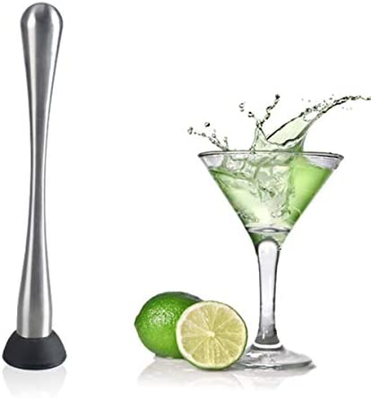 ELEWELT Stainless Steel Cocktail Muddler, Bars Catering Events Home Use Tools, Long Handle Length for Easy Use with Mojitos and Other Fruit Based Drinks