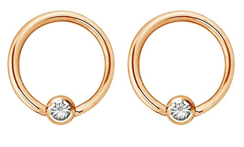 Forbidden Body Jewelry Pair 14g 12mm Rose Gold Tone Surgical Steel Clear CZ Gemmed Captive Bead Piercing Hoops, 5mm Balls
