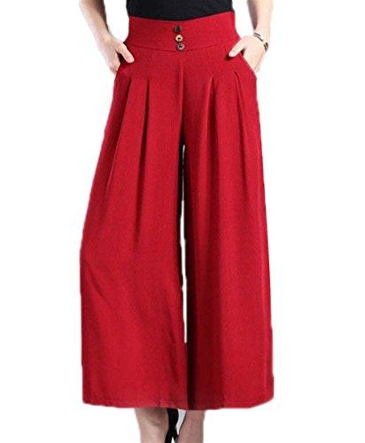 Pantaloni High Pantaloni A Plus Larghi Elegante Donna Pantalone Lunga Femminile Rot Pantalone Primaverile Con Moda Dei Costume Autunno Campana Pantaloni Tasche Due Prodotto Puro Colore Waist Larghi CBCp0r