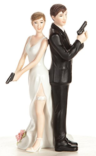 Wedding Collectibles Super Sexy Spy Guns Wedding Cake Topper with Bride and Groom | Fun, Sexy, Humorous Figurine | Fine Porcelain | 5.5 Inches