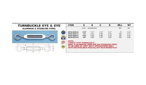 "A0154-EE10-A ALUMINUM /& STAINLESS STEEL EYE /& EYE TURNBUCKLE 3//8/"""