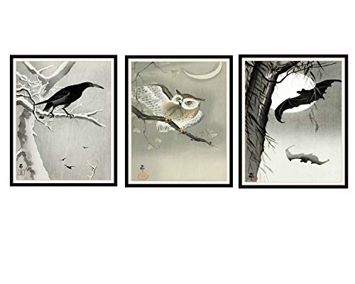 Paper Moon Media Set of 3 Vintage Halloween Watercolor Art Print Posters,Owl, Crow and Bats Autumn Wall Art, Halloween Decor 8 x 10, Unframed