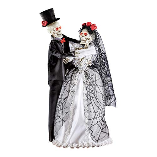 Sound Activated Animated Halloween Bride and Groom Skeletons
