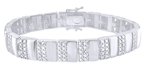 Round Cut White Natural Diamond Men's Bracelet In 14k White Gold Over Sterling Silver (0.02 cttw) - 8.5