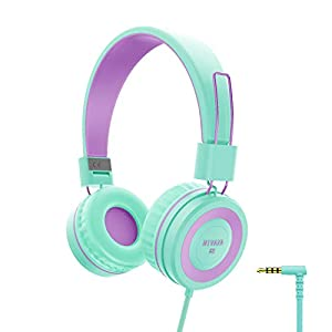 NIVAVA K8 Kids Headphones for Children Boys Girls Teens Wired Foldable Lightweight Stereo On Ear Headset for iPad Cellphones Computer MP3/4 Kindle Airplane School(Green/Purple)