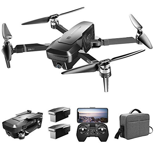 GoolRC VISUO Zen K1 GPS RC Drone with 4K HD Front Camera and 720P Optical Flow Positioning Camera, 5G WiFi FPV Brushless Motor Drone, Headless Mode, Follow Me RC Quadcopter with 2 Battery and Handbag