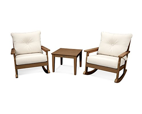 POLYWOOD Vineyard 3-Piece Deep Seating Rocker Set (Teak/Antique Beige) (Lounge Set Polywood)