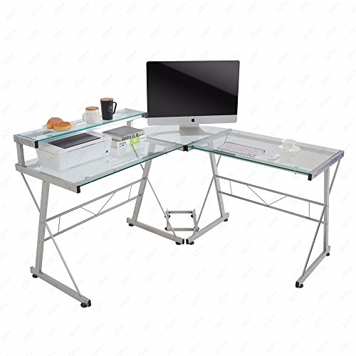 [US STOCK]Evelove L-Shape Corner Computer Desk PC Glass Laptop Table Workstation Home Office Clear by Evelove