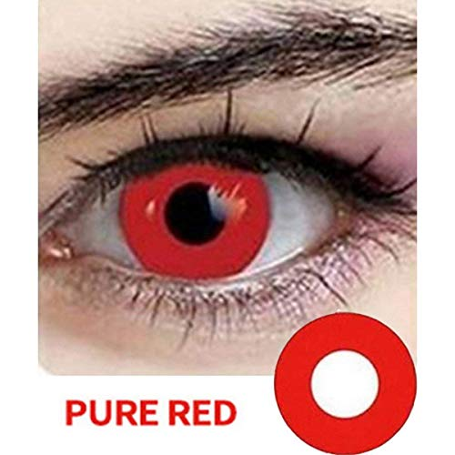 Multi-color Cosplay Eyes Cute Colored Charm and Attractive Fashion Contact Lenses Color Blends Cosmetic Makeup Eye Shadow (A Pair) (RED) -