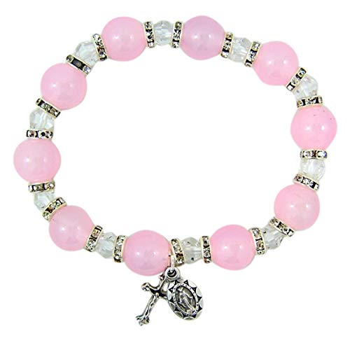 9mm Light Pink Glass Rosary Bead Stretch Bracelet with Silver-Toned Crucifix and Miraculous Medal, 2 1/2 ()