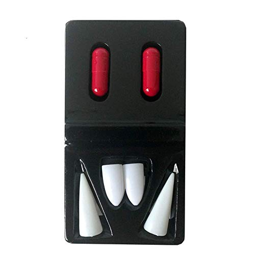 MXXGMYJ MagicW 4Pcs Plastic Vampire Teeth Vampire Fangs Dentures Halloween Party Favors Cosplay Prop Decoration Horror Scary -