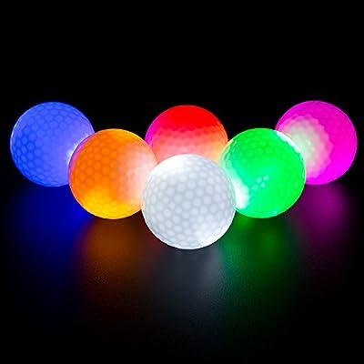 ILYSPORT LED Light up Golf Balls, Glow in The Dark Night Golf Balls - Multi Colors of Blue, Orange, Red, White, Green, Pink - Pack of 6
