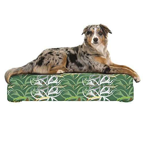 Lunarable Spring Dog Bed, Environmental Scroll Pattern Swirly Twigs and Leaves Intertwined Ivy Lines on Green, Dog Pillow with High Resilience Visco Foam for Pets, 32