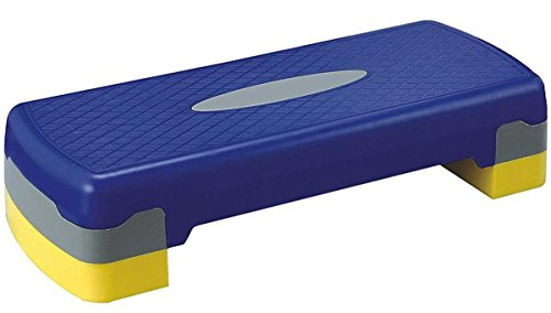KLB Sport 27″ Adjustable Exercise Equipment Step Platform For Sports & Fitness (blue & yellow)
