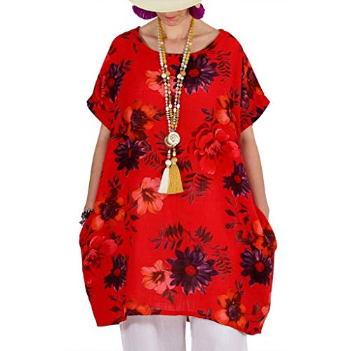 ♡Londony♡ Women's Short Sleeve High Low Loose T Shirt Basic Tee Tops Plus Size O Neck Swing Floral Tunic Tops S-5XL Red ()