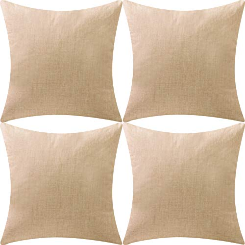 DEZENE Throw Pillow Covers,Set of 4 Natural Linen Look Fabric Cushion Covers,Decorative Lined Square Pillow-case for Couch,18 x 18 Inch,Natural Linen