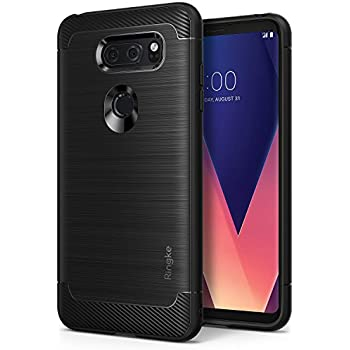 LG V30 Phone Case, Ringke [Onyx] Fine Brushed Metal Design [Flexible & Slim] Dynamic Stroked Line Pattern Trim Durable Anti-Slip TPU Impact Shock-Absorbent Defensive Cover - Black
