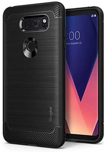 LG V30 / LG V30 Plus / LG V30S ThinQ Phone Case, Ringke [Onyx] Fine Brushed Metal Design [Flexible & Slim] Dynamic Stroked Line Pattern Trim Durable Anti-Slip TPU Impact Shock - Black