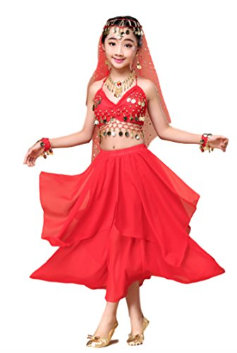 Kid's Belly Dance Girl Halter Top Dress Costume With Head Veil, Waist Chain, Bracelets, and Necklace Set ()