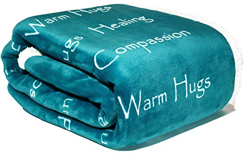 WOLF CREEK BLANKET - Compassion Blanket - Strength Courage Super Soft Warm Hugs, Get Well Gift Blanket Plush Healing Thoughts Positive Energy Love & Hope with Fluffy Comfort & Caring (50 x 65 Teal)