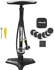 Vibrelli Bike Floor Pump with Gauge & Puncture Kit - 160 PSI - Presta Valve Bike Pump Switches to Schrader