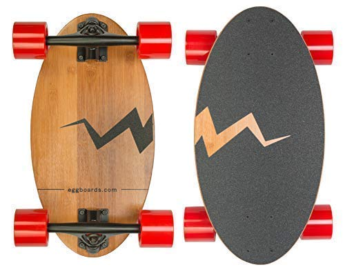 Eggboards Mini Longboard Cruiser Skateboards - Small Board for Adults and Kids with Wide Skateboard Deck 19 inch in Bamboo Wood and Large Longboards Wheels.