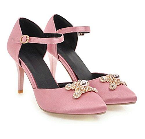 YE Damen High Heels Knöchelriemchen Pumps Ankle Strap Satin Stiletto mit 8cm Absatz Braut Hochzeit Abend Schuhe Rosa