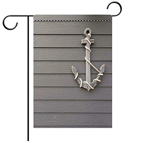 Artistically Designed Yard Flags, Double Sided Anchor Decor Wooden Anchor with the Rope on the Wall Antique Navy Nature Adventure Decorative Deck, patio, Porch, Balcony Backyard, Garden or Lawn