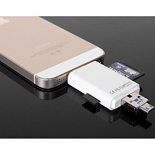 rice power MemoryCard Reader Lightning iFlash Drive USB SDHC Micro SD OTG Card Adapter for iPhone 6S 6S plus 6 6 plus iPad Samsung Huawei PC Tablet by rice power (Image #4)