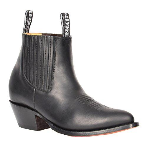 Herren Echtes Leder Chelsea Stiefel Cowboy Stil Spitz Zehe Knöchel Schuhe HLG06MAL Schwarz