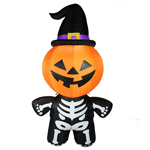 Joiedomi Halloween Inflatable Blow Up Pumpkin Skeleton with a Witch Hat for Halloween Outdoor Decoration (6 ft Tall)-2018 New Version