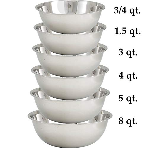 Tiger Chef 6-Pack Small Stainless Steel Mixing Bowls Sets for Kitchen, Mirror Finish, 3/4, 1-1/2, 3, 4, 5, and 8 Quart, Must-have Kitchen Essentials (Set of 6)