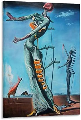 GSSG Surrealist Poster Salvador Dali Art The Burning Giraffe Poster Decorative Painting Canvas Wall Art Living Room Posters Bedroom Painting 24x36inch 60x90cm
