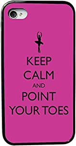 Rikki KnightTM Keep Calm and Point your Toes Rose Pink Ballet Design Design iPhone 5 & 5s Case Cover (Black Rubber with bumper protection) for Apple iPhone 5 & 5s