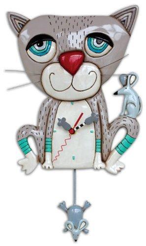 Mouser the Cat Gray Kitty Meow Pendulum Battery Wall Clock Allen Designs