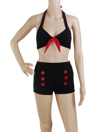 Bikini-Black-Retro-50s-Pin-up-Rockabilly-Vintage-Tie-Bow-Back-Halter-MOD-Womens-Swimwear-Size-S-Small