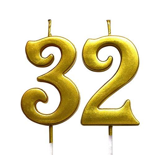 Amazon.com: Magjuche - Velas de cumpleaños número 32, color ...