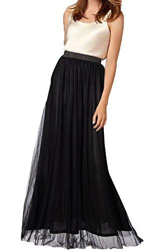 Dress Full Chiffon Skirt Prom (Belovecol Women's Tulle Chiffon Skirt High Waist Formal Casual Full Circle Skirts Dress Long Black L)