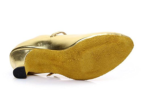 Latin Ballroom Heel Gaorui Heeled Salsa Dance Tango Women Shoes Gold Mary Low Shoes Glitter Dancewear Jane q85Rz8x4w